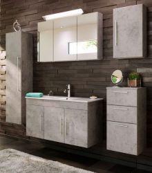 Badkombination Teramo in Stone Design grau Badmöbel Set 7-teilig inkl. Waschbecken und LED Beleuchtung 200 x 190 cm