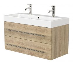 Doppelwaschtisch Livono in Sonoma Eiche hell Waschtisch hängend inkl. Waschbecken 100 x 60 cm Waschplatz Set