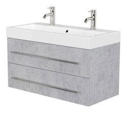 Doppelwaschtisch Livono in Stone Design grau Waschtisch hängend inkl. Waschbecken 100 x 60 cm Waschplatz Set