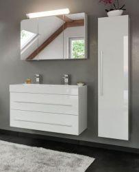 Badkombination Livono in Hochglanz weiß Badmöbel Set 5-tlg. inkl. Doppelwaschtisch und LED Spiegellampe 150 x 190 cm