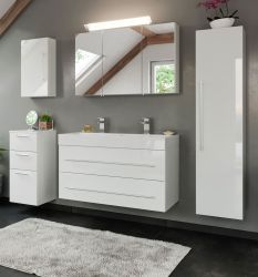 Badkombination Livono in Hochglanz weiß Badmöbel Set 7-tlg. inkl. Doppelwaschtisch und LED Spiegellampe 200 x 190 cm