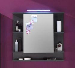 Badezimmer: Spiegelschrank Tetis Grafit, grau (72x70 cm) mit Regalfächern