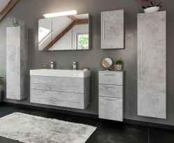 Badkombination Livono in Stone Design grau Badmöbel Set 8-tlg. inkl. Doppelwaschtisch und LED Spiegellampe 250 x 190 cm