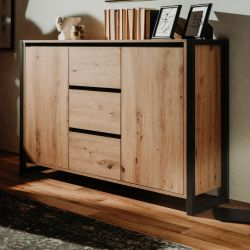Kommode Denver in Artisan Eiche und Anthrazit Industrial Look Sideboard 120 x 88 cm