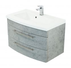 Waschtisch hängend inkl. Waschbecken Luna in Stone Design grau Waschplatz Set 2-tlg. 80 x 53 cm