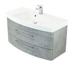 Waschtisch hängend inkl. Waschbecken Luna in Stone Design grau Waschplatz Set 2-tlg. 100 x 57 cm