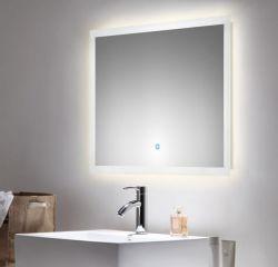 Badezimmer Spiegel Luna inkl. LED Beleuchtung mit Touch Bedienung Badspiegel weiß 80 x 60 cm