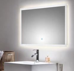 Badezimmer Spiegel Luna inkl. LED Beleuchtung mit Touch Bedienung Badspiegel weiß 100 x 60 cm