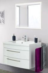 Badmöbel Set Luna in Hochglanz weiß Badkombination inkl. Waschbecken und LED Beleuchtung 80 x 190 cm