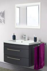 Badmöbel Set Luna in anthrazit Seidenglanz Badkombination inkl. Waschbecken und LED Beleuchtung 80 x 190 cm