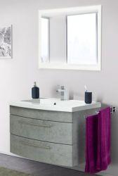 Badmöbel Set Luna in Stone Design grau Badkombination inkl. Waschbecken und LED Beleuchtung 80 x 190 cm