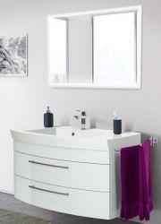 Badmöbel Set Luna in Hochglanz weiß Badkombination inkl. Waschbecken und LED Beleuchtung 100 x 190 cm