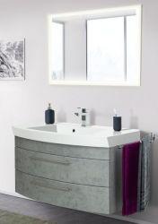 Badmöbel Set Luna in Stone Design grau Badkombination inkl. Waschbecken und LED Beleuchtung 100 x 190 cm