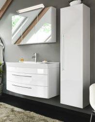 Badmöbel Set 5-tlg. Luna in Hochglanz weiß Badkombination inkl. Waschbecken und LED Beleuchtung 150 x 190 cm