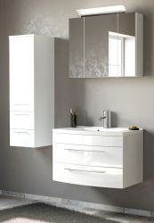 Badmöbel Set 5-tlg. Luna in Hochglanz weiß Badkombination inkl. Waschbecken und LED Beleuchtung 130 x 190 cm