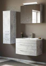 Badmöbel Set 5-tlg. Luna in Stone Design grau Badkombination inkl. Waschbecken und LED Beleuchtung 130 x 190 cm