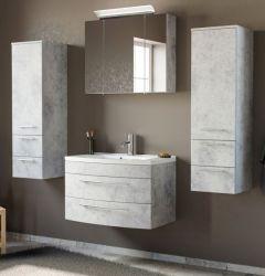 Badmöbel Set 6-tlg. Luna in Stone Design grau Badkombination inkl. Waschbecken und LED Beleuchtung 180 x 190 cm