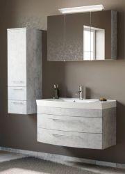 Badmöbel Set 5-tlg. Luna in Stone Design grau Badkombination inkl. Waschbecken und LED Beleuchtung 150 x 190 cm