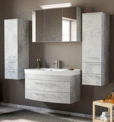 Badmöbel Set 6-tlg. Luna in Stone Design grau Badkombination inkl. Waschbecken und LED Beleuchtung 200 x 190 cm