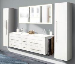 Badkombination Nero XL in Hochglanz weiß Badmöbel Set inkl. Doppelwaschtisch und Spiegel mit Beleuchtung 253 x 190 cm