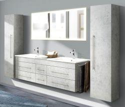 Badkombination Nero XL in Stone Design grau Badmöbel Set inkl. Doppelwaschtisch und Spiegel mit Beleuchtung 253 x 190 cm
