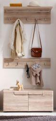 Garderobe Malea 3-teilig in Eiche San Remo Garderobenset mit Garderobenpaneel und Schuhbank 88 x 188 cm