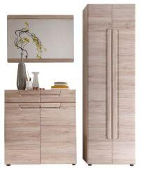 Garderobe Malea 3-teilig in Eiche San Remo Garderobenset mit Schuh- / Garderobenschrank 170 x 191 cm