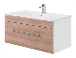 Waschtisch Viva in Sonoma Eiche hell Waschbeckenunterschrank hängend inkl. Waschbecken 2-teilig 100 x 48 cm