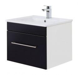Waschtisch Viva in schwarz Seidenglanz Waschbeckenunterschrank hängend inkl. Waschbecken 2-teilig 60 x 48 cm