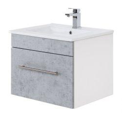 Waschtisch Viva in Stone Design grau Waschbeckenunterschrank hängend inkl. Waschbecken 2-teilig 60 x 48 cm