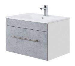 Waschtisch Viva in Stone Design grau Waschbeckenunterschrank hängend inkl. Waschbecken 2-teilig 75 x 48 cm