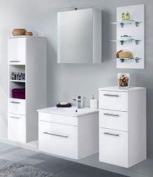 Badkombination Viva in Hochglanz weiß Badmöbel inkl. Waschbecken und LED Beleuchtung Set 8-tlg. 160 cm
