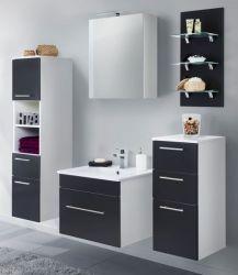 Badkombination Viva in schwarz Seidenglanz Badmöbel inkl. Waschbecken und LED Beleuchtung Set 8-tlg. 160 cm