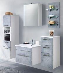 Badkombination Viva in Stone Design grau Badmöbel inkl. Waschbecken und LED Beleuchtung Set 8-tlg. 160 cm