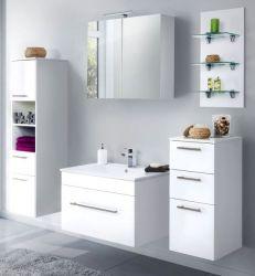 Badkombination Viva in Hochglanz weiß Badmöbel inkl. Waschbecken und LED Beleuchtung Set 8-tlg. 175 cm
