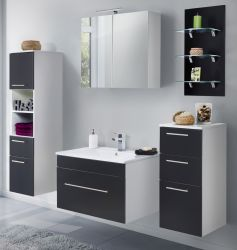 Badkombination Viva in schwarz Seidenglanz Badmöbel inkl. Waschbecken und LED Beleuchtung Set 8-tlg. 175 cm