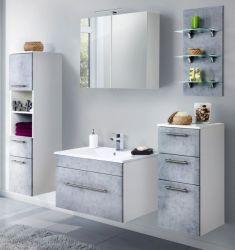 Badkombination Viva in Stone Design grau Badmöbel inkl. Waschbecken und LED Beleuchtung Set 8-tlg. 175 cm