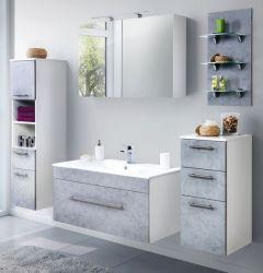 Badkombination Viva in Stone Design grau Badmöbel inkl. Waschbecken und LED Beleuchtung Set 8-tlg. 200 cm