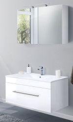 Badkombination Viva in Hochglanz weiß Badmöbel inkl. Waschbecken und LED Spiegellampe Set 4-tlg. 100 x 190 cm