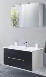 Badkombination Viva in schwarz Seidenglanz Badmöbel inkl. Waschbecken und LED Spiegellampe Set 4-tlg. 100 x 190 cm