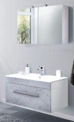 Badkombination Viva in Stone Design grau Badmöbel inkl. Waschbecken und LED Spiegellampe Set 4-tlg. 100 x 190 cm