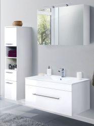 Badkombination Viva in Hochglanz weiß Badmöbel inkl. Waschbecken und LED Spiegellampe Set 5-tlg. 150 x 190 cm