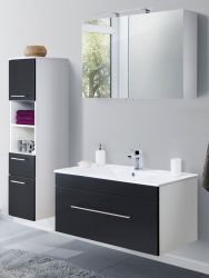 Badkombination Viva in schwarz Seidenglanz Badmöbel inkl. Waschbecken und LED Spiegellampe Set 5-tlg. 150 x 190 cm