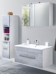 Badkombination Viva in Stone Design grau Badmöbel inkl. Waschbecken und LED Spiegellampe Set 5-tlg. 150 x 190 cm