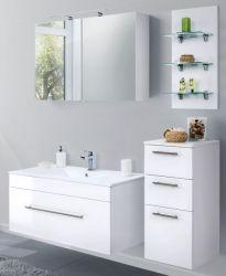 Badkombination Viva in Hochglanz weiß Badmöbel inkl. Waschbecken und LED Beleuchtung Set 7-tlg. 150 cm