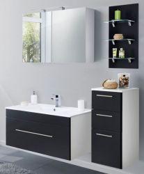 Badkombination Viva in schwarz Seidenglanz Badmöbel inkl. Waschbecken und LED Beleuchtung Set 7-tlg. 150 cm