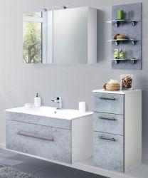 Badkombination Viva in Stone Design grau Badmöbel inkl. Waschbecken und LED Beleuchtung Set 7-tlg. 150 cm