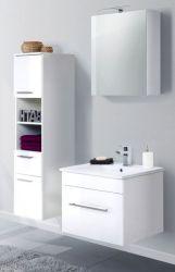 Badkombination Viva in Hochglanz weiß Badmöbel inkl. Waschbecken und LED Spiegellampe Set 5-tlg. 110 x 190 cm