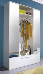 Garderobenschrank weiß Ela mit 2 Spiegeltüren Flurgarderobe kompakt 115 cm
