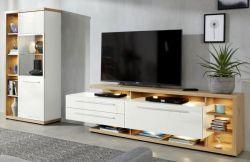 Wohnwand Odino in Hochglanz weiß und Asteiche / Eiche Schrankwand 2-tlg. 309 x 167 cm mit Vitrine und TV-Lowboard